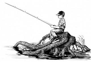 line-art-of-boy-sitting-on-drift-wood-fishing_w725_h496